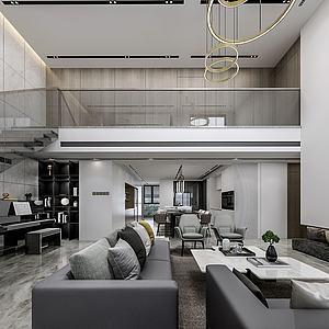 现代客厅空间3d模型