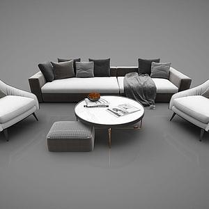 现代风格沙发组合3d模型