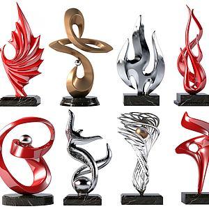 现代艺术抽象雕塑3d模型