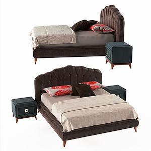 美式休閑雙人床模型3d模型