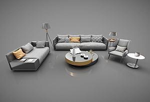 現代沙發茶幾組合模型3d模型