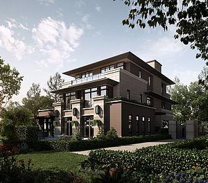 室外小區樓盤別墅模型3d模型