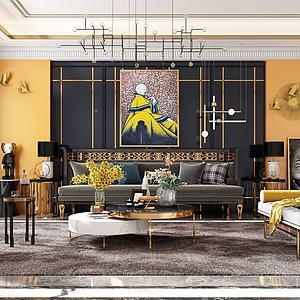 后現代客廳3d模型