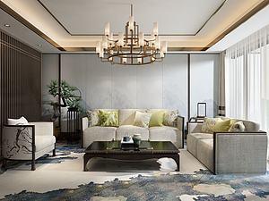 中式客廳模型3d模型