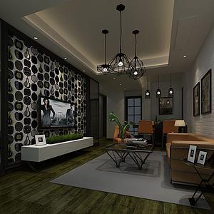 現代客廳空間3d模型