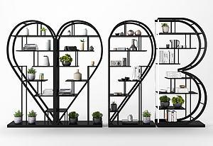 現代鐵藝裝飾架模型3d模型