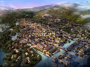 中式商业小镇模型3d模型