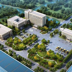 現代辦公園區3d模型