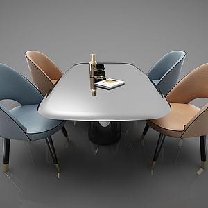 四人餐桌3d模型