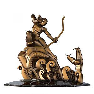 中式后異斬巴蛇雕塑擺件模型3d模型