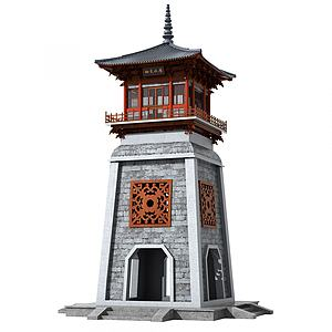 中式古建塔楼钟楼模型3d模型