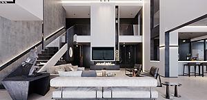 現代輕奢別墅客廳模型3d模型