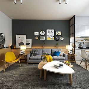 现代式客厅3d模型