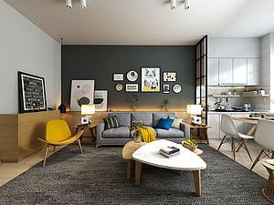 現代式客廳模型3d模型