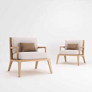現代原木沙發模型3d模型