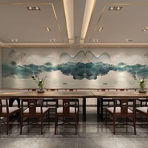 新中式會議室3d模型