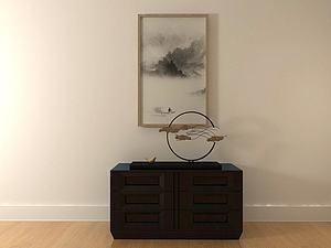 中式经典玄关柜模型3d模型