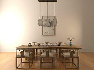 中式经典茶桌椅模型3d模型