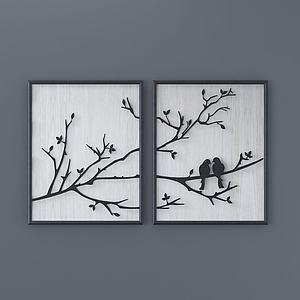 新中式樹上鳥兒掛畫模型3d模型