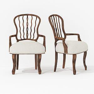 現代復古風休閑單人椅3d模型