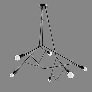 現代多枝吊燈3d模型