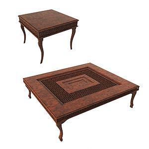 現代實木四方桌3d模型