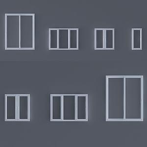 現代玻璃窗3d模型