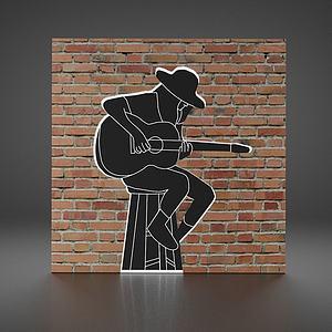 現代磚頭墻飾3d模型