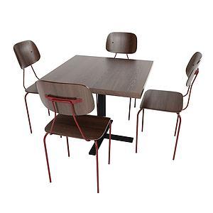 甲蟲式桌椅組合3d模型