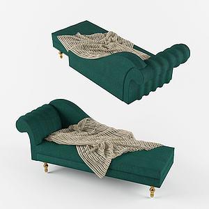 现代绿色躺式沙发3d模型