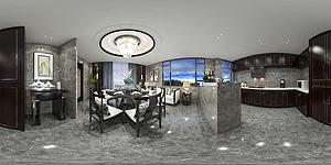 全景厨房餐厅模型3d模型