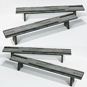 現代木長方凳模型3d模型