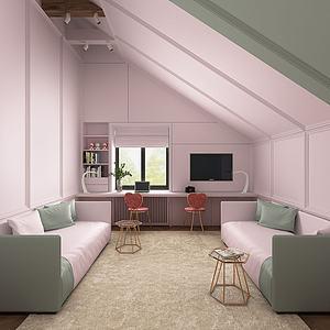 北歐書房3d模型