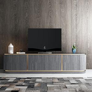 現代電視背景墻3d模型