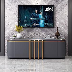 現代簡約灰色電視墻3d模型