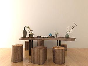 中式经典茶桌模型3d模型