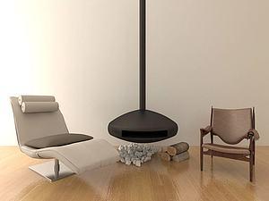 現代壁爐休閑模型3d模型