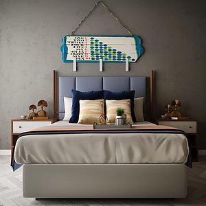 家具饰品组合床3d模型