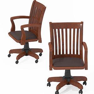 新中式办公室办公椅模型3d模型