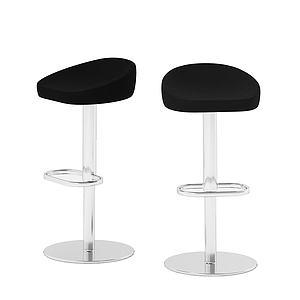 現代皮革吧椅模型3d模型