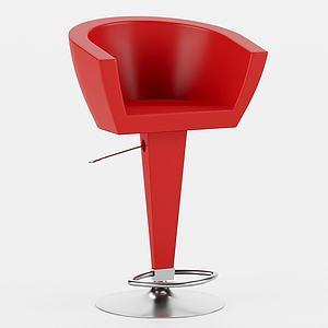 現代紅吧椅模型3d模型