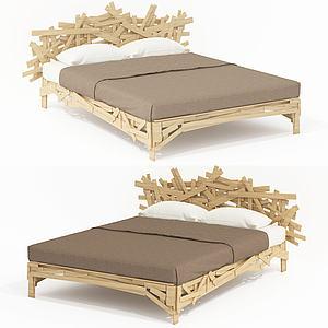 現代設計布藝雙人床模型3d模型