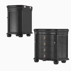 现代边柜储物柜木质模型3d模型