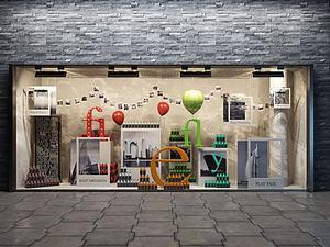 商鋪櫥窗展示模型3d模型