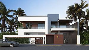 現代別墅建筑外觀模型3d模型
