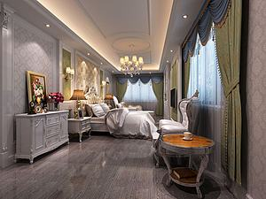 歐式臥室別墅模型3d模型