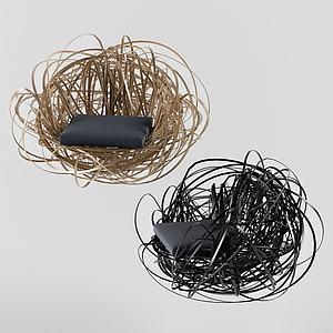 鳥巢式休閑椅3d模型