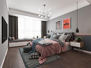 北歐臥室模型3d模型
