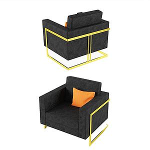 美式休閑單人沙發3d模型
