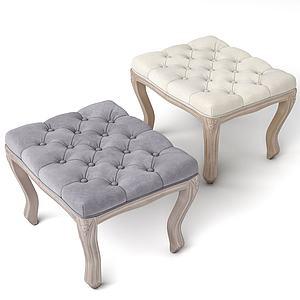 美式休閑面包短凳模型3d模型